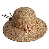 Kinlene Damen Strand Strohhut Jazz Sonnenschirm Panama Trilby Fedorahut Gangstermütze