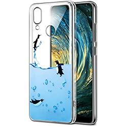 Funda Huawei P20 Lite, Eouine Cárcasa Silicona 3d Transparente con Dibujos Diseño Suave Gel TPU [Antigolpes] de Protector Bumper Case Cover Fundas para Movil Huawei P20 Lite 2018 - 5.84 Puldagas (Pingüinos)