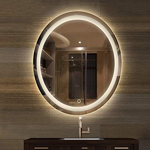 Espejo para baños de Pared con Iluminación LED Luz Maquillaje Iluminado Cosméticos Luminoso Ovalado Dormitorio Anti Niebla
