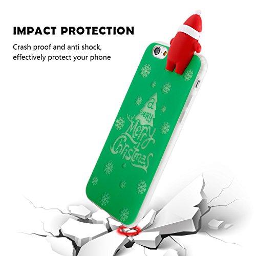 iphone 6 plus/iphone 6s plus Case Tasche 3D Phosphoreszenz Santa HandyHülle Ultra-dünne Leder-Muster Slim Silikon Case Leicht TPU Ultra Thin Soft Stoßfest Shockproof Staubdicht Schutzhülle Covers Slee Grün