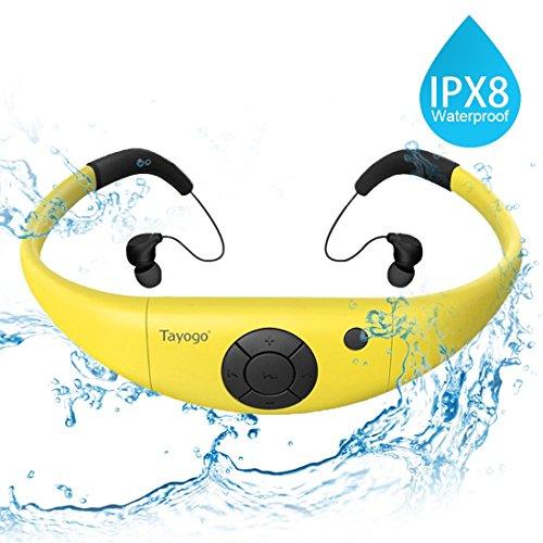 Tayogo MP3-Player Wasserdicht Schwimmen MP3 mit Kopfhörern 8GB IPX8 Hi-Fi 3m Unterwasser, 60 ℃ Hitzebeständig für Laufen Schwimmen Gehen Fahrrad Spa und anderen Sport mit Wasser oder Schweiß (Rumpf Schwimmer)
