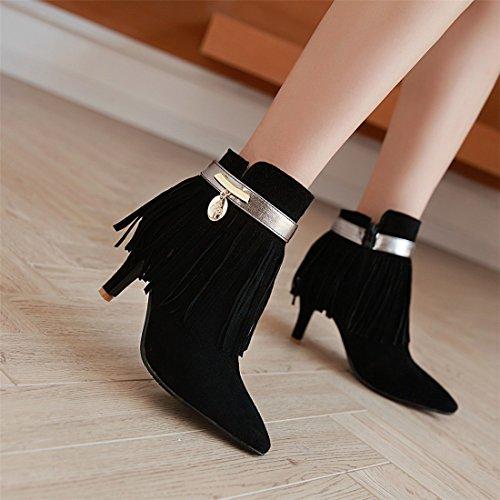 YE Damen High Heel Spitze Stiefeletten mit Fransen und Reißverschluss 8cm Absatz Herbst Short Ankle Boots Schuhe Schwarz