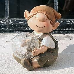 Andy la boule lumière à énergie solaire pour décoration de jardin en résine avec changement de couleur Elfe, Fée, Troll, jardin imp