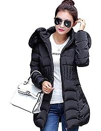 LaoZan Femme Faux Fourrure Manteau Hiver Élégant Manches Longues Veste Épaissi Doudoune à Capuche