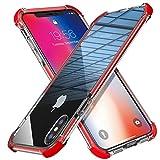 MATEPROX Coque iPhone XS Coque iPhone X Bouclier Super Protégé Couverture de Protection du Téléphone Très Transparent iPhone Boîtier pour 5.8 Pouces Apple iPhone XS/X 5.8'' -Rouge