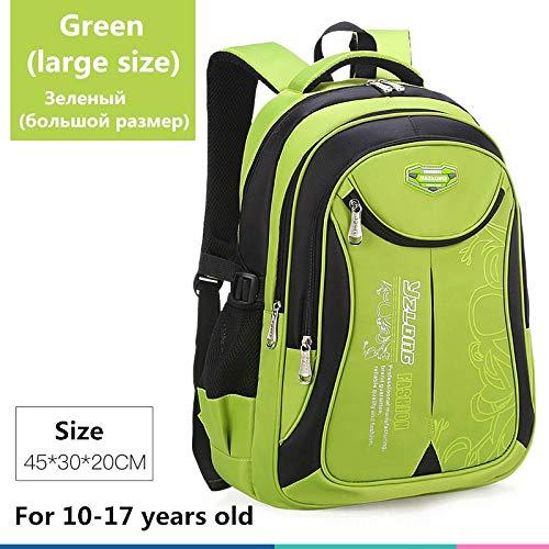 Schultasche für Kinderrucksack-Tasche Kinderschulsack Teen Junge Mädchen Hohe Kapazität wasserdichte Ausrüstung Kinderschultüte Mochila Großes Grün