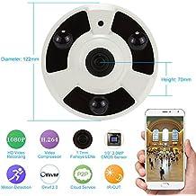 KKmoon 1080P IP Cámara CCTV P2P H.264 HD Lente 1.7mm Ojos de Pez 360° Panorámico IR-CUT Onvif Visión Nocturna Detección de Movimiento Android/iOS