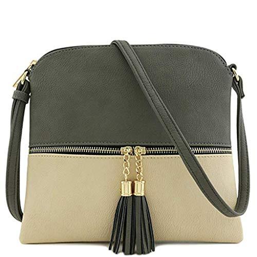 Bfmyxgs Mother es Day Messenger Bag für Frauen Leder Tassel Crossbody Bag Hit Color Shoulder Bag Totes Handtaschen Schultertaschen Rucksack Totes Waist Tasche Tasche Tasche Brustpaket -