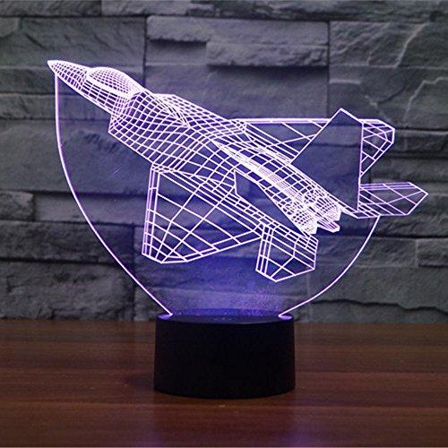 Lampe 3D ILLUSION Lichter der Nacht, kingcoo 7Farben LED Acryl Licht 3D Creative Berührungsschalter Stereo Visual Atmosphäre Schreibtischlampe Tisch-, Geschenk für Weihnachten, Kunststoff, Avion 0.50 wattsW - 5