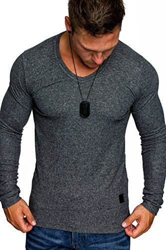 Amaci&Sons Herren Basic Pullover Melange Sweatshirt V-Neck Fein-Strick Hoodie 6052 Anthrazit Melange M