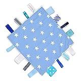 Dotty Fish couverture pour bébé - petite couverture de sécurité pour bébés - garçons et filles - Étoiles bleues et blanches