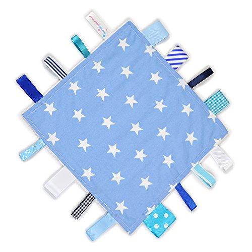 Weiß Taggie (Dotty Fish Schmusetuch - Handgefertigt in England - Blaue und weiße Sterne Design - Baby Mädchen und Jungen)