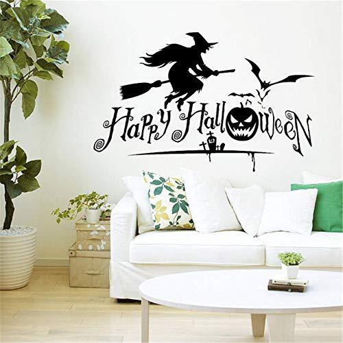 r Hexe auf Besenstiel Horror Happy Halloween Fledermäuse Kürbis Home Schlafzimmer Fenster Geschenk Aufkleber ()