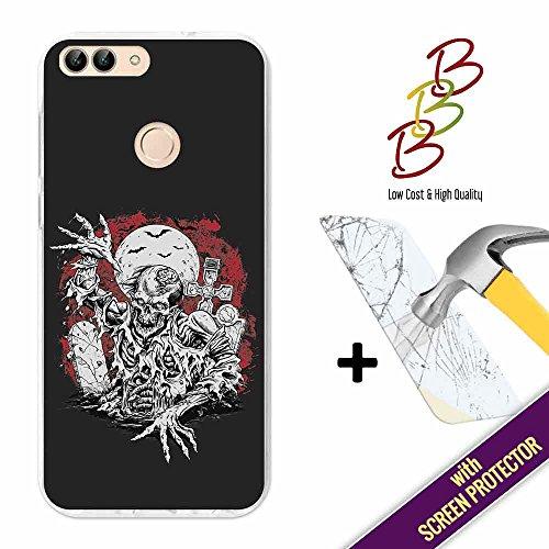 3B Funda Gel para Huawei P Smart, [+1 Protector de Pantalla Cristal Vidrio Templado], Carcasa TPU Flexible Fabricada con la Mejor Silicona y con Nuestro Exclusivo Diseño - Pesadilla Zombie.