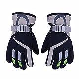 AONIJIE Kinder Ski Handschuhe Wasserdicht Winddicht Warme Futter Outdoor Sports Snow Handschuhe Für 5-10 Jahre Alt Junge & Mädchen (Marineblau)