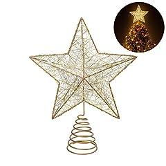 Idea Regalo - NICEXMAS - Puntale per albero di Natale, a forma di stella, con luci LED, funzionamento a batteria, oro