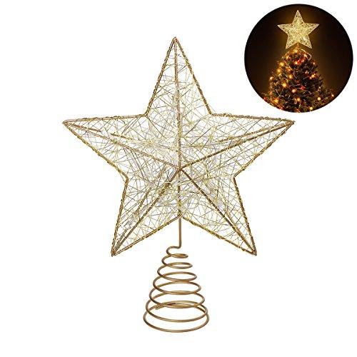 NICEXMAS Estrella de Cinco Puntas Árbol de Navidad LED Decoraciones,Star Treetop Light Decoración de Navidad Pentagram (Gold)