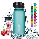 720°DGREE Trinkflasche 'uberBottle' - 650 ml, 0,65 l, Blau - Neuartige Tritan Wasser-Flasche - Water Bottle BPA Frei - Ideale Sportflasche für Kinder, Fitness, Fahrrad, Sport, Fussball