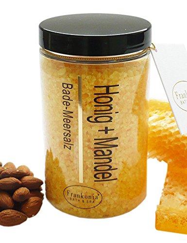 Lashuma Badesalze Badesalz Geschenk Honig - Mandel Bade-Meersalz mit Mandelöl, Badezusatz 450 g