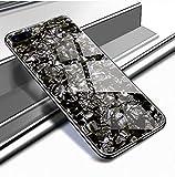 Yobby Glas Hülle für iPhone 7 Plus, iPhone 8 Plus Schwarz Handyhülle Kristall Funkeln Glitzer Muster Schlank Weich TPU Bumper Schutzhülle Reflektierend Glänzend Spiegel Rückseite