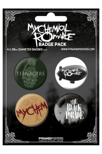 MY CHEMICAL ROMANCE - BADGE PACK - PACK OF 4 X 38MM BADGES - BRAND NEW