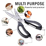 from sikiwind Kitchen Scissors SIKIWIND Multi Purpose Kitchen Shears Professional Heavy Duty Stainless Steel Poultry Shears for Fish, Chicken, Poultry, Meat, Vegetables, Herbs and BBQ Black/Grey)