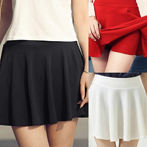 litalily-Gonna a vita alta a pieghe a vita alta con pieghe a pieghe da donna Anti-short skirt in tinta unita Una gonna elegante Black