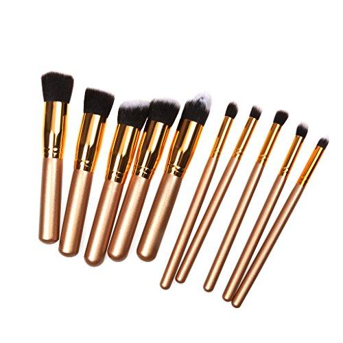 10pcs Brosse de Maquillage de Luxe Pinceaux à Visage Yeux Sourcils Or