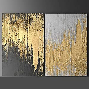 Orlco Art Skills Artists Hand-Painted Abstract White and Gold Oil Paintings on Canvas Beautiful Modern Unique Canvas Painting for Liveing Room Gold