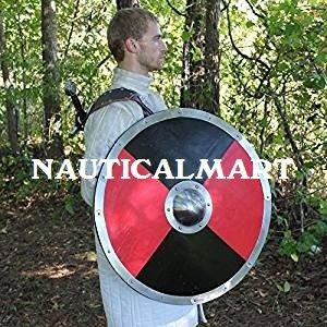 NauticalMart - Escudo de combate de madera para vikingos medievales