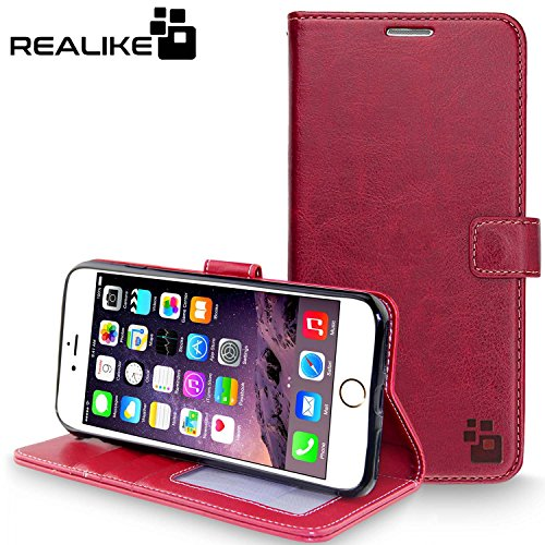 iPhone 7 Cover, REALIKE {Imported} Premium Leather Wallet Flip Case For iPhone 7 Cover (Royal Series - Wine)