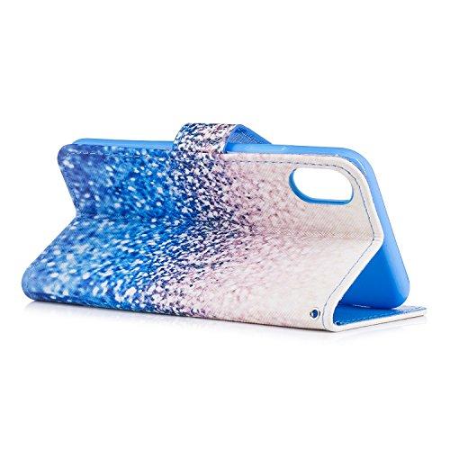 Cover iphone x, Alfort 2 in 1 Custodia Alta qualità Cuoio Flip Stand Case per la Custodia iphone x Ci sono Funzioni di Supporto e Portafoglio ( Volpe ) 5,8 pollici Blu