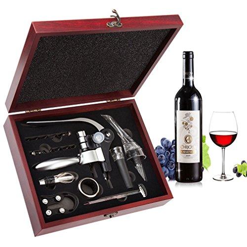 Color: Vino Abierto  Un elegante set de regalo de vino de alta calidad  Perfecto para todos los entusiastas del vino, el Corkscrew Wine Opener Wood Box Set ofrece una acción sin esfuerzo y de extracción automática y un tornillo resistente y antiadher...