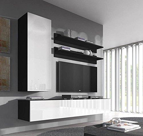Muebles bonitos mobile soggiorno – parete da soggiorno moderno sospeso modello nora h1 nero bianco – larghezza totale: 160cm x altezza minima: 190cm x profondità maxima: 40 cm