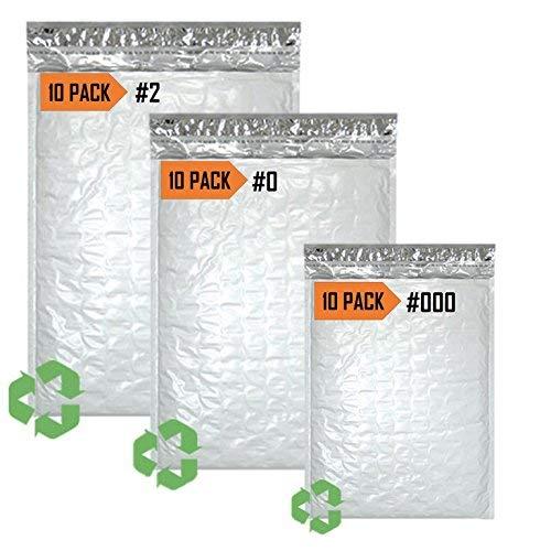 Sales4Less Poly Luftpolsterversandtaschen #2, 8,5 x 12, 10 Stück, 0, 6 x 10, 10 Stück, 000, 4x8, 10 Stück (10x12 Mailer Poly)
