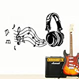 43 * 80cm Art Music Headphones Vinyl Wall Stickers for kids room Decoration Bedroom Decor Wallpaper Mural wallstickers wallpaper