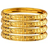 Mansiyaorange Traditional Party Wedding Wear One Gram Gold Original Style Hand Made Golden Four Bangles for Women