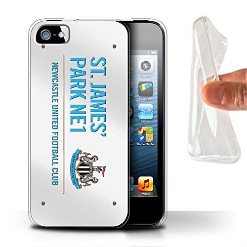 Offiziell Newcastle United FC Hülle / Gel TPU Case für Apple iPhone SE / Pack 6pcs Muster / St James Park Zeichen Kollektion Weiß/Blau