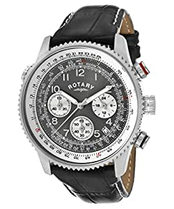 Rotary Gents Chronograph Black Leather Strap Watch INDE4