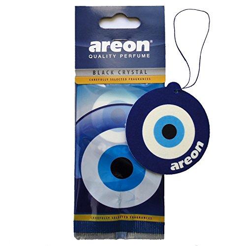 AREON Auto Lufterfrischer Schwarz Kristall Blau Auge Anhänger Hängend Zum Aufhängen Spiegel Duft Autoduft Nazar Amulett Pappe 2D Wohnung Büro (Black Crystal Blue Eye Pack x 1) -