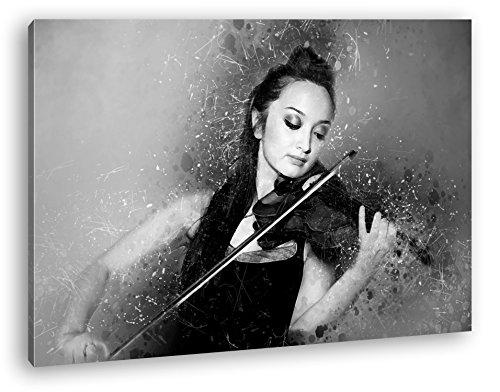 deyoli schöne Frau spielt Geige Format: 80x60 Effekt: Schwarz/Weiß als Leinwandbild Motiv fertig gerahmt auf Echtholzrahmen, Hochwertiger Digitaldruck mit Rahmen, Kein Poster oder Plakat