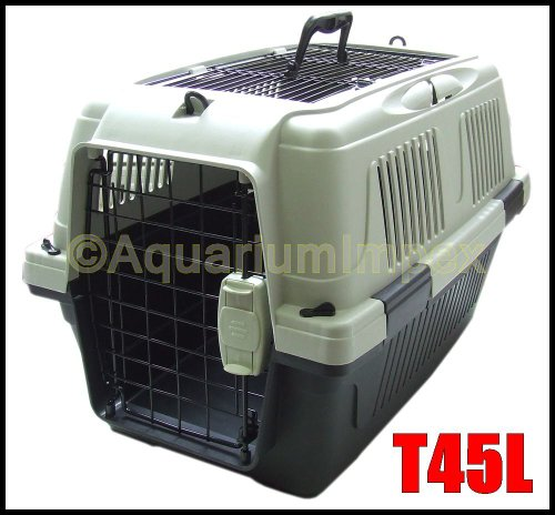 DeLuxe PLUS Transportbox Autobox Namenschild 2x Türen T45L schwarz Hundebox Hunde Katzenbox -