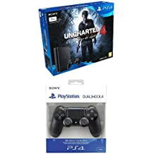 PlayStation 4 Slim (PS4) 1TB - Consola + Uncharted 4 + Sony - DualShock 4 Negro V2 (PS4)