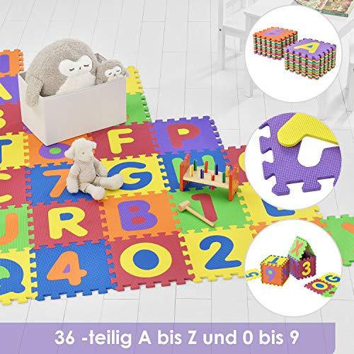 Juskys Kinder Puzzlematte Kim 36 Teile mit Buchstaben A-Z & Zahlen 0-9 | rutschfest & abwischbar | Puzzle ab 3 Jahre | Eva Schaumstoff | Kinderteppich
