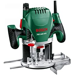 Défonceuse Bosch - POF 1400 ACE (Livrée avec set d'accessoires, régulation électronique constante, réglage de la profondeur de fraisage et éclairage)