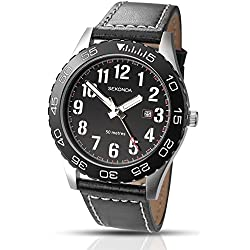 Sekonda Men's Quartz Watch with Black Dial Analogue Display and Black Leather Strap 1129