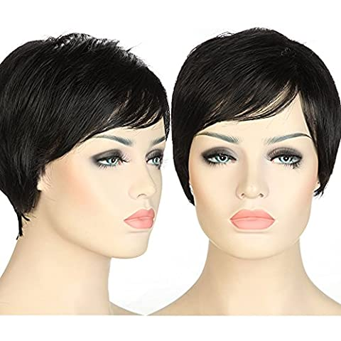 S-noilite Vogue Lady Short Full Head Wigs Cosplay Party Daily Fancy Dress Heat Resistant Synthetic Fiber Dark Black by S-noilite