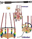 alles-meine.de GmbH Deluxe - Kinderschaukel / Schaukel aus Holz + Türreck - Gitterschaukel - mit Gurt - mitwachsend & verstellbar - Leichter Einstieg ! - Babyschaukel - verstellb..
