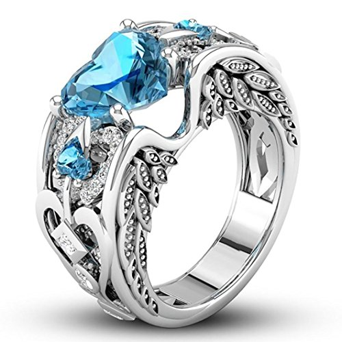DOGZI Argent Naturel Ruby Pierres Précieuses Birthstone Bride Wedding Engagement Heart Ring Bleu ciel