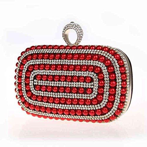 borsa da sera frizione nuovo sposa mini anello pacchetto perline diamante borsa banchetto ( Colore : Nero ) Rosso